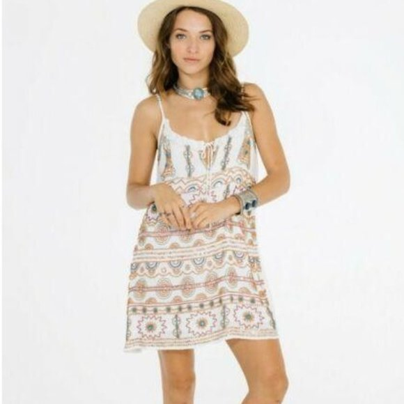 Raga Anthro Taos Beaded Boho Mini Dress Cream XS